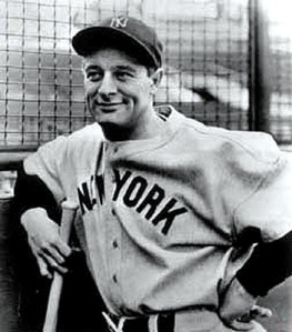 """Lou Gehrig in Yankee road flannel. Note placement of """"Y""""."""