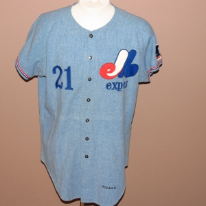 Larry Jaster's '69 road Expos jersey.